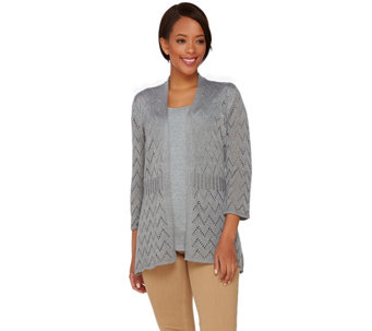 Liz Claiborne New York Pointelle Cardigan and Knit Tank Set - A272812