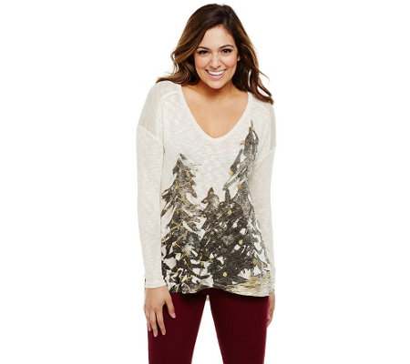 Bethany Mota Holiday Tree Printed Knit Top with Hi-Low Hem