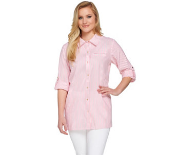 Joan Rivers Skinny Stripe Boyfriend Shirt with Gold Buttons - A273912