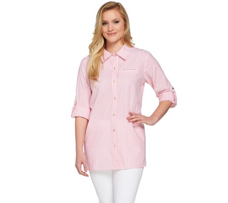 Joan Rivers Skinny Stripe Boyfriend Shirt with Gold Buttons