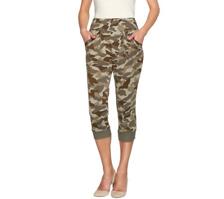 """As Is"" LOGO Lounge by Lori Goldstein French Terry Camo Capris"
