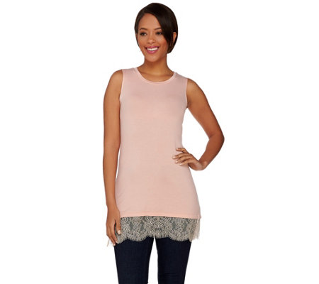 LOGO Layers by Lori Goldstein Knit Tank with Scalloped Lace Trim