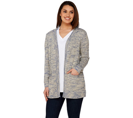 C. Wonder Open Front Marled Novelty Yarn Long Sleeve Cardigan