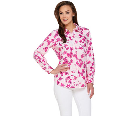 Susan Graver Printed Stretch Cotton Long Sleeve Button Front Shirt