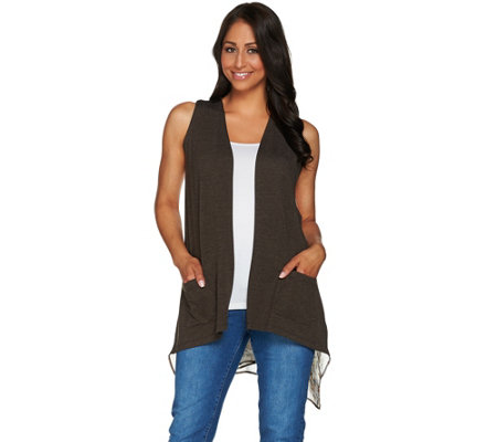 LOGO Lounge by Lori Goldstein French Terry Vest w/ Printed Chiffon Back