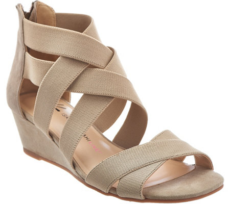 Isaac Mizrahi Live! Stretch Crossover Low Wedge Sandals
