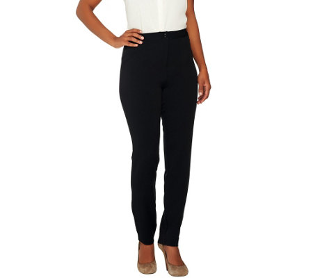 """As Is"" Linea by Louis Dell'Olio Petite Stretch Slim Leg Pants"