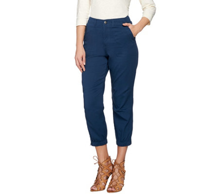 Lisa Rinna Collection Crop Pants with Side Zip Detail