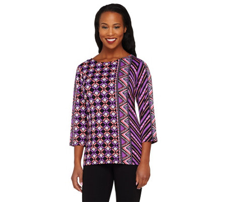 """As Is"" Bob Mackie's Indonesia Print 3/4 Sleeve Knit Tunic"