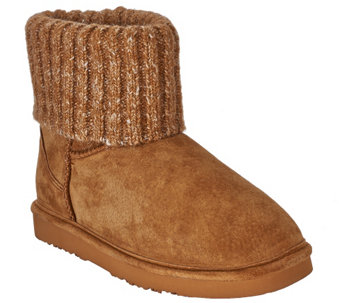 """As Is"" Lamo Suede Water Resistant Boots with Sweater Cuff - Empire - A278412"