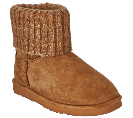 """As Is"" Lamo Suede Water Resistant Boots with Sweater Cuff - Empire"