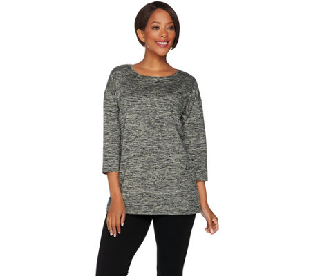 H by Halston Boatneck 3/4 Sleeve Knit Top