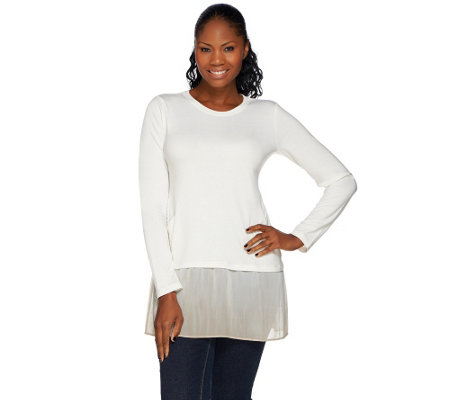"""As Is"" LOGO Lounge by Lori Goldstein French Terry Top w/Ombre Hem"