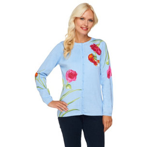 """As Is"" Quacker Factory Think Pink Sparkle Floral Printed Cardigan - A279512"