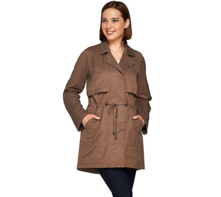 H by Halston Roll Tab Long Sleeve Anorak with Drawstring