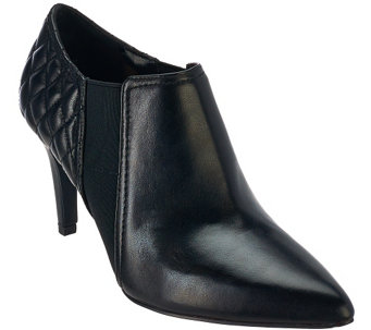 """As Is"" Isaac Mizrahi Live! Leather Booties with Quilting Detail - A281012"