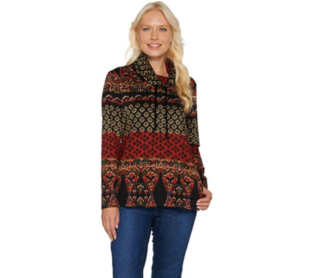 Susan Graver Weekend Printed Ponte Pullover Top