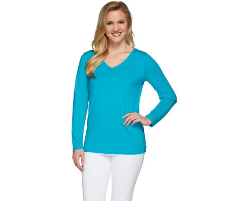 """As Is"" Susan Graver Weekend Essential Cotton Modal Long Sleeve Top"