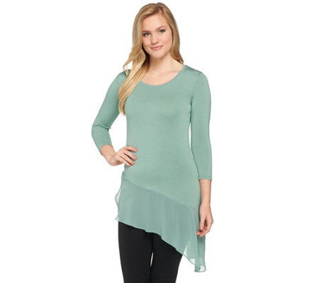 """As Is"" LOGO by Lori Goldstein Asymmetric Hem Knit Top with Chiffon Trim"
