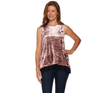LOGO by Lori Goldstein Panne Velvet Tank with Lace Hem - A283012