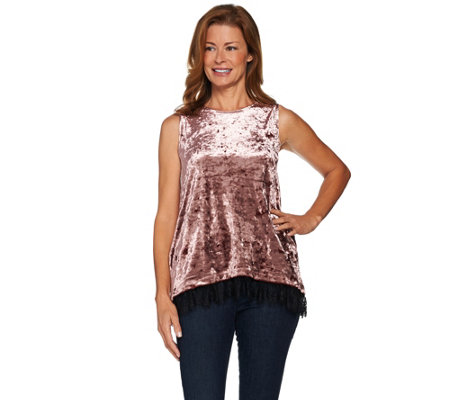 LOGO by Lori Goldstein Panne Velvet Tank with Lace Hem