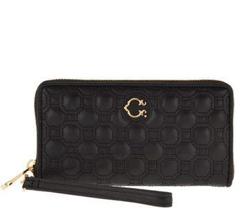 C. Wonder Nappa Leather Geo Quilted Zip Wristlet Wallet - A284312