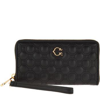 C. Wonder Nappa Leather Geo Quilted Zip Wristlet Wallet
