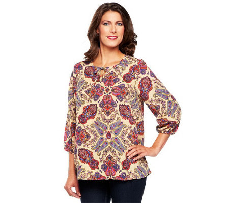 """As Is"" Liz Claiborne New York 3/4 Sleeve Paisley Print Tunic"