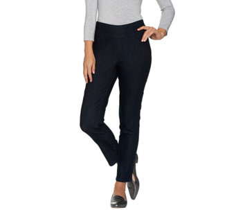 "Denim & Co. ""How Smooth"" Petite Denim Ankle Pant w/ Back Pocket - A286112"