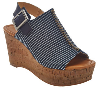 """As Is"" Marc Fisher Striped Denim Open-toe Wedges - Sinthya - A286512"