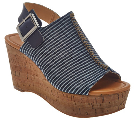 """As Is"" Marc Fisher Striped Denim Open-toe Wedges - Sinthya"