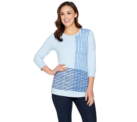 H by Halston Engineered Grid Print French Terry Pullover Top