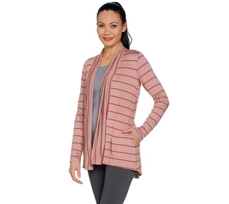LOGO by Lori Goldstein Mixed Stripe Open Front Cardigan