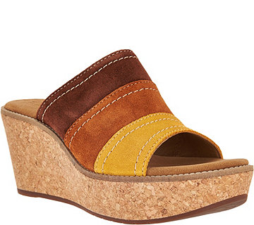 Clarks Artisan Nubuck Leather Wedge Sandals - Aisley Lily - A288112