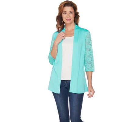 Denim & Co. 3/4 Lace Sleeve Cardigan with Lace and Peplum Back