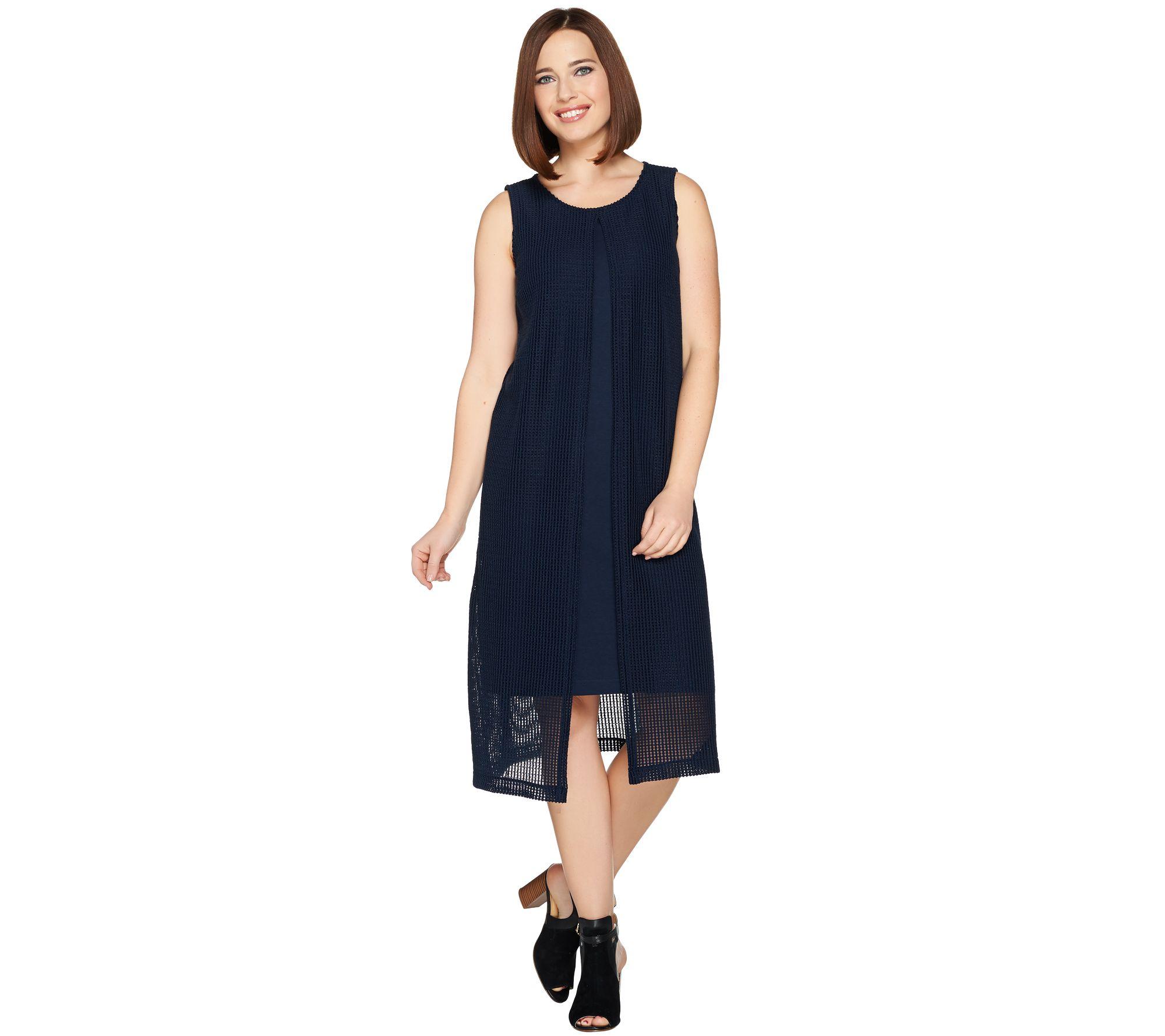 H by Halston Petite Sleeveless Knit Midi Dress w/ Knit Overlay - A288612
