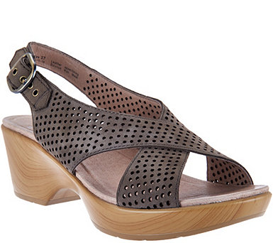 Dansko Nubuck Leather Perforated Sandals - Jacinda - A289112