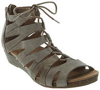 Earth Origins Leather Lace-up Wedges - Harley - A289312