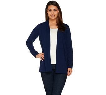 """As Is"" Susan Graver Weekend Cotton Modal Open Front Cardigan - A289912"
