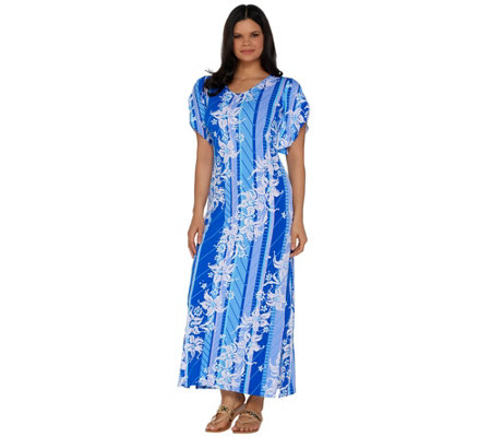 Bob Mackie's Floral Printed Tulip Sleeve Knit Maxi Dress