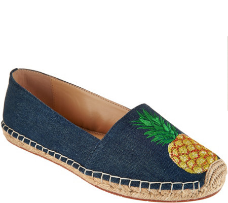 C. Wonder Embroidered Pineapple Denim Espadrilles - Penelope