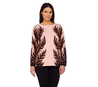 """As Is"" Bob Mackie's Leaf Silhouette Jacquard Sweater - A293012"