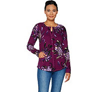 Isaac Mizrahi Live! Painterly Floral Printed Curved Hem Cardigan - A295812