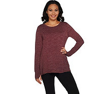 AnyBody Loungewear Cozy Knit Relaxed Peplum Top - A297312