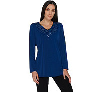 Quacker Factory Embellished V-Neck Long Sleeve Jersey Tunic - A299512