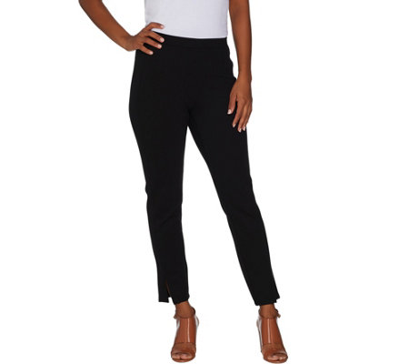 H by Halston Petite Ankle Length Ponte Leggings w/ Slit Detail