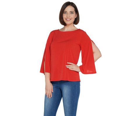 G.I.L.I. Jetsetter Knit Top with 3/4 Length Split Sleeve