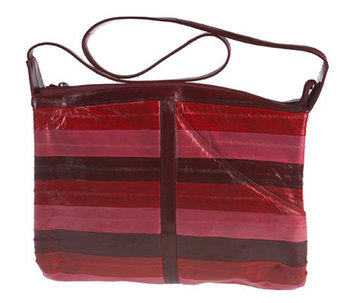 Lee Sands Multi-Color Striped Eelskin Zip Top Handbag - A323912