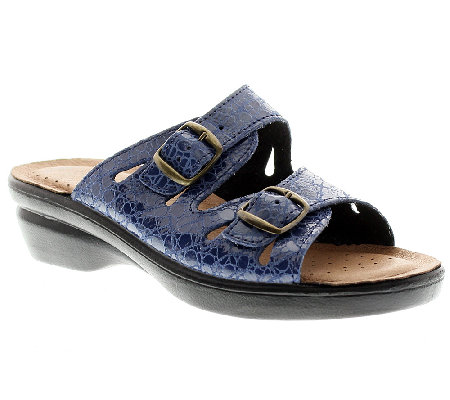 Flexus by Spring Step Footstep Croco Leather Slide Sandals