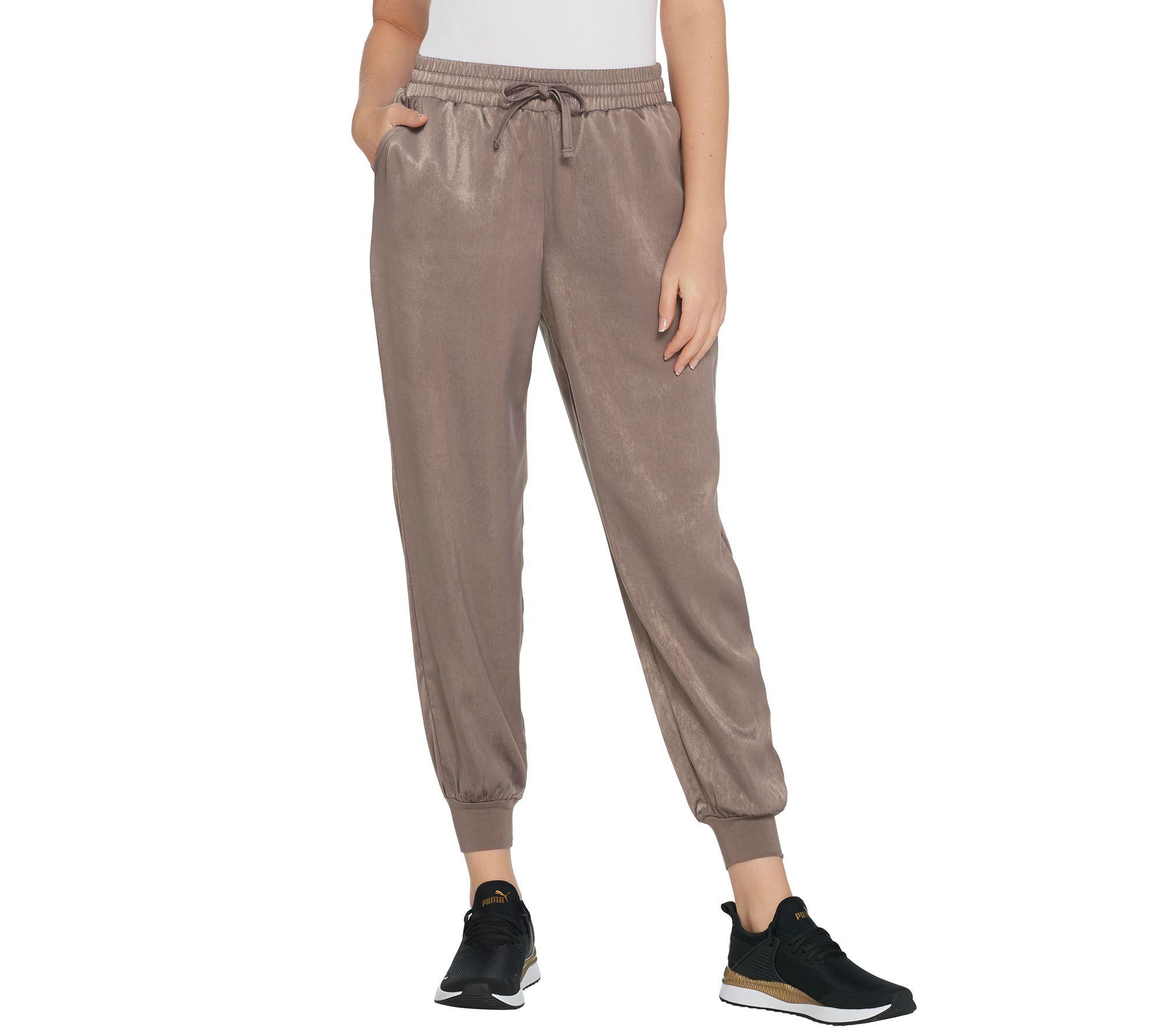 AnyBody Loungewear Regular Satin Jogger Pants - A345512